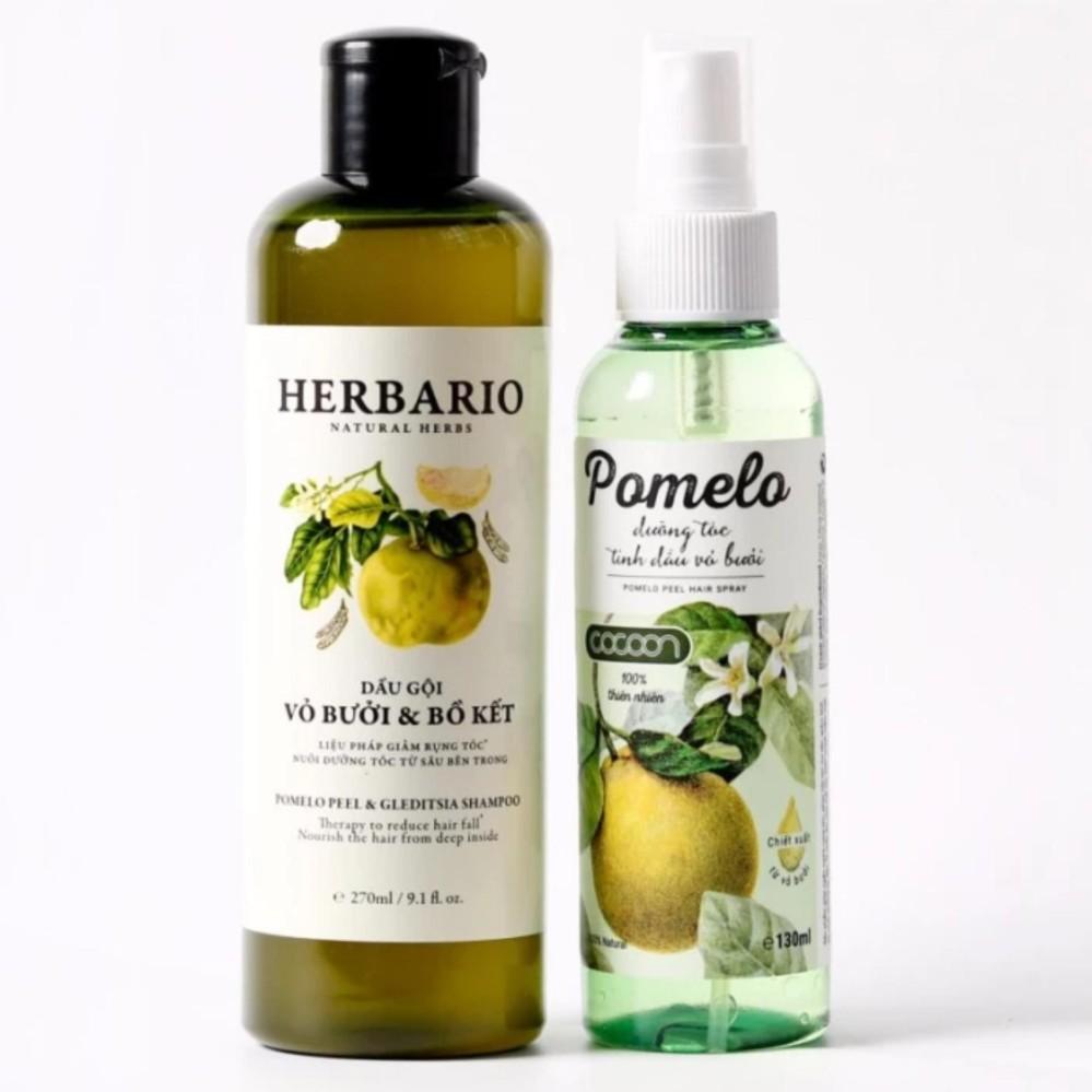 Bộ 1 chai xịt bưởi Pomelo và 1 chai dầu gội vỏ bưởi bồ kết Herbario m rụng tóc, phục hồi hư tổn