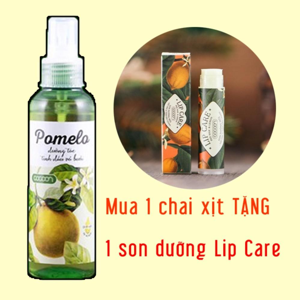 Hình ảnh Bộ 1 chai xịt tóc bưởi Cocoon Pomelo và 1 son dưỡng môi Lip Care