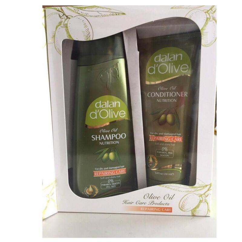 Bộ 1 dầu gội và 1 dầu xả Oliu cho tóc khô và hư tổn Dalan DOlive Nutrition Repairing Care nhập khẩu