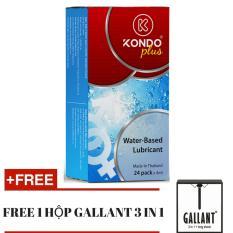 Hình ảnh Bộ 1 Hộp 24 gói Gel bôi trơn Thái Lan - Kondo Plus tặng 1 hộp Bao cao su GALLANT 3 in 1