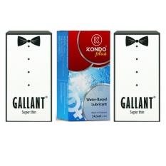 Bộ 1 Hộp Gel bôi trơn Kondo Plus (24 gói) và 2 hộp Bao cao su Siêu mỏng GALLANT Super Thin (2 x 12 chiếc)
