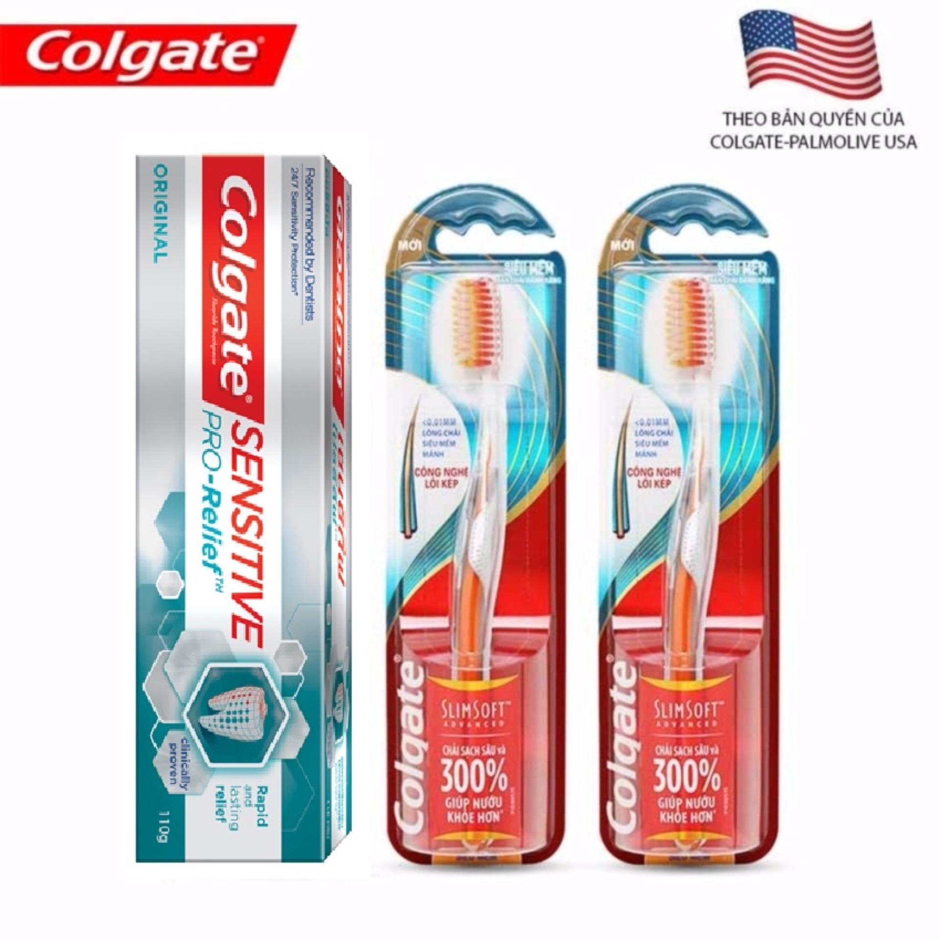 Bộ 1 Kem Đánh Răng Colgate Sensitive Pro-Relief Và 2 Bàn Chải Colgate Slim Soft Advanced