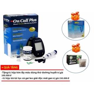 Bộ 1 Máy đo đường huyết Oncall plus và 2 hộp que thử + Tặng hộp kim lấy máu dùng thử đường huyết+ hộp trà túi lọc cà gai leo giải độc mát gan thumbnail