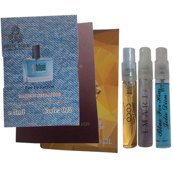 Bộ 1 nước hoa mini nam Blue For Him 5ml + 1 nước hoa mini nữ COCO 5ml + 1 nước hoa nữ mini Imari 5ml