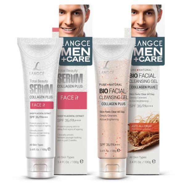 Bộ 1 serum da mặt FACE it nhau thai cừu chống nắng SPF36/PA+++ 100g và 1 gel rửa mặt sinh học đẹp da collagen + chiết xuất hồng sâm 100g LANGCE dành cho nam