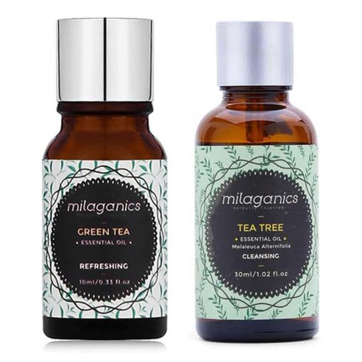 Bộ 1 tinh dầu tràm trà Milaganics 30ml và 1 tinh dầu trà xanh Milaganics 10ml
