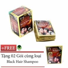 Bộ 10 Dầu gội nhân sâm phủ bạc tóc Hàn Quốc (Đen) + Tặng 02 Gói cùng loại nhập khẩu