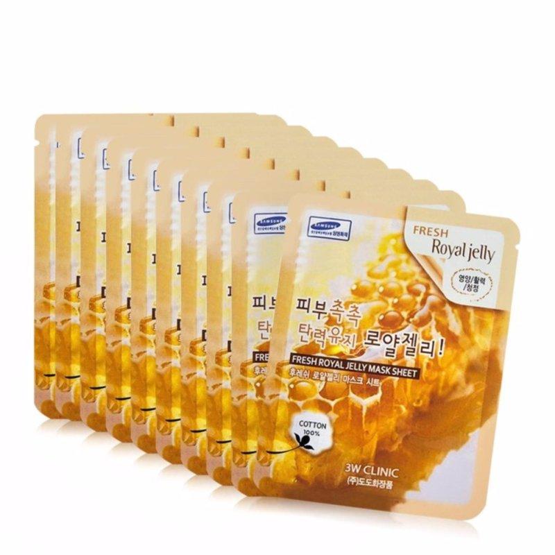 Bộ 10 gói mặt nạ chiết xuất sữa ong chúa 3W Clinic Fresh Royal Jelly Mask Sheet 23ml X 10