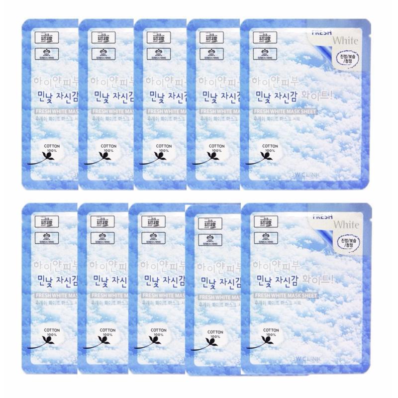 Bộ 10 gói mặt nạ tuyết dưỡng trắng da 3W Clinic Fresh White Mask Sheet 23ml X 10 nhập khẩu