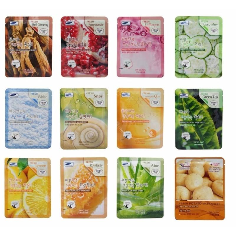 Bộ 12 gói Mặt nạ giấy dưỡng da 3W CLinic Fresh Mask Sheet 23ml x12 nhập khẩu