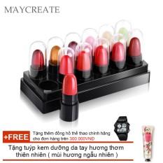 Hình ảnh Bộ 12 son mẫu thử Maycreate 5g + Tặng tuýp kem dưỡng da tay hương thơm tự nhiên ( Đơn hàng mỹ phẩm trên 300k tặng thêm 1 đồng hồ thể thao như quảng cáo )