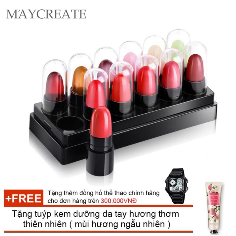 Bộ 12 son mẫu thử Maycreate 5g + Tặng tuýp kem dưỡng da tay hương thơm tự nhiên ( Đơn hàng mỹ phẩm trên 300k tặng thêm 1 đồng hồ thể thao như quảng cáo )