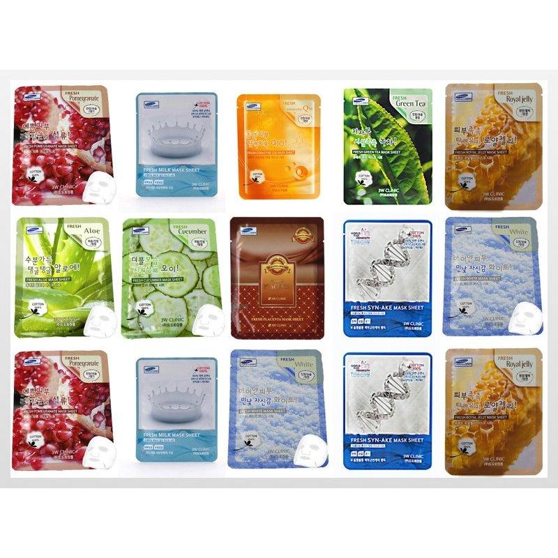 Bộ 15 Gói Mặt Nạ Dưỡng Da 3w Clinic Fresh Mask Sheet 15X23ml nhập khẩu