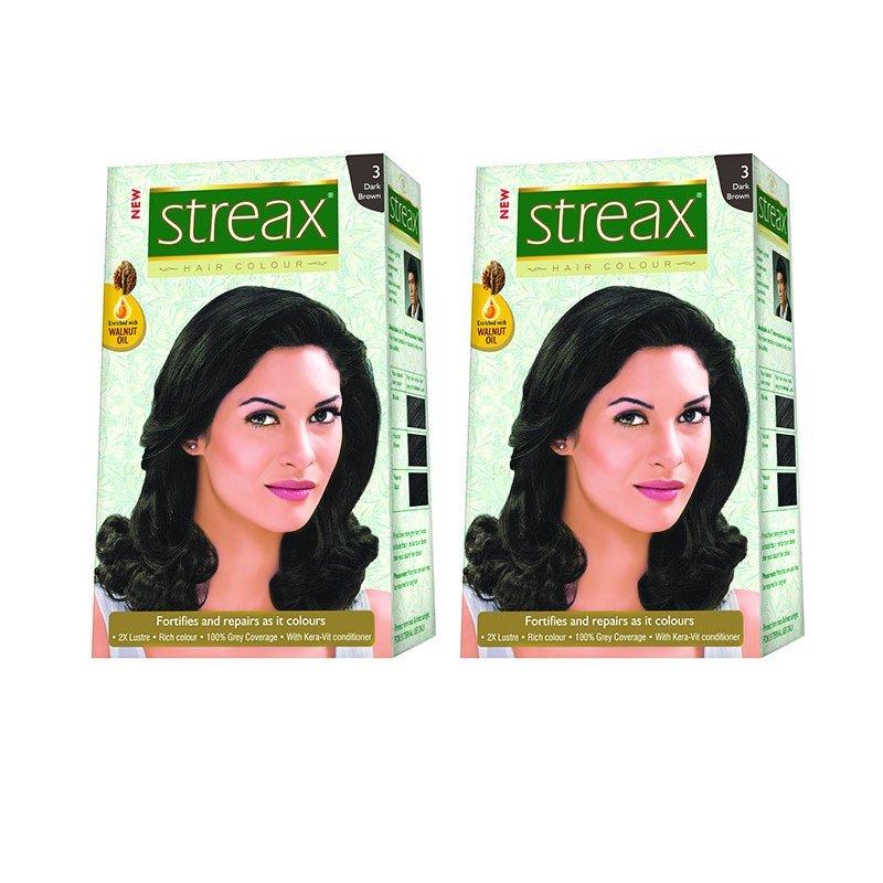 Bộ 2 hộp nhuộm tóc Streax Dark Brown (Đen tự nhiên) cao cấp