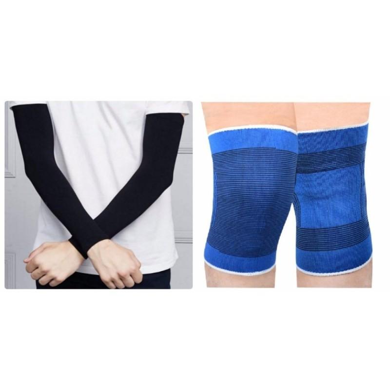Bộ 2 miếng bảo vệ đầu gối và găng tay chống nắng hở ngón