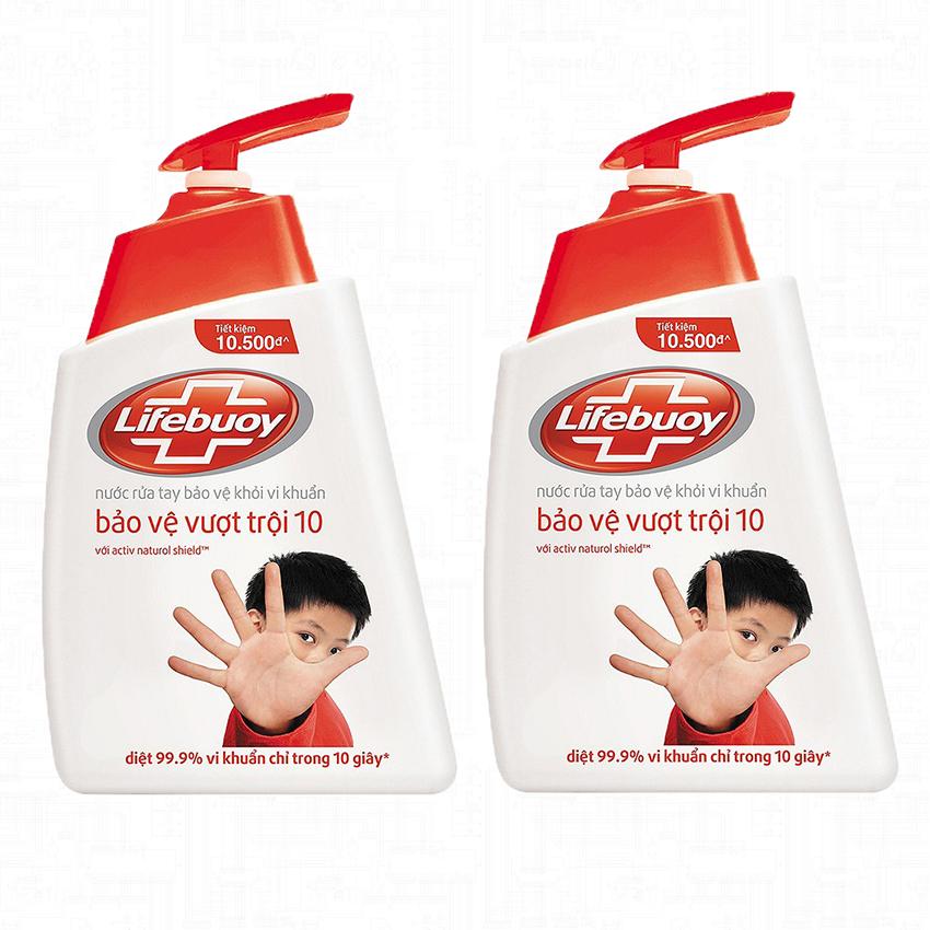 Bộ 2 Nước rửa tay Lifebuoy bảo vệ vượt trội 500g