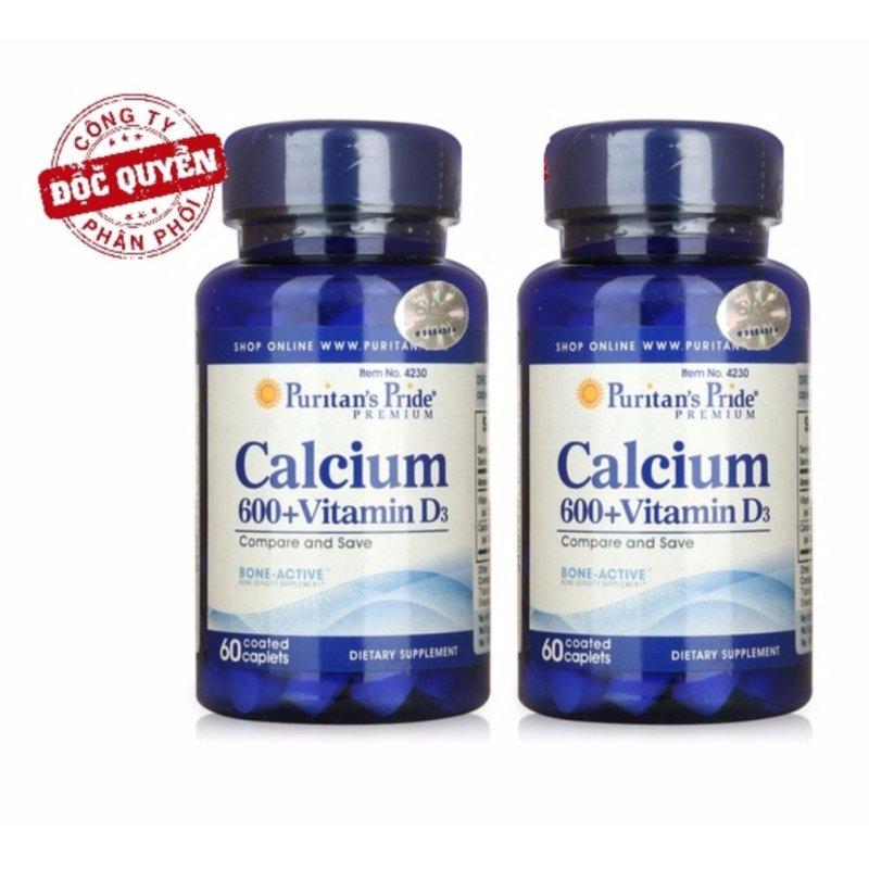 Bộ 2 Viên Uống Bổ Sung Canxi Và Vitamin D3 Puritans Pride Calcium 600+ Vitamin D3 60 Viên 4230 cao cấp