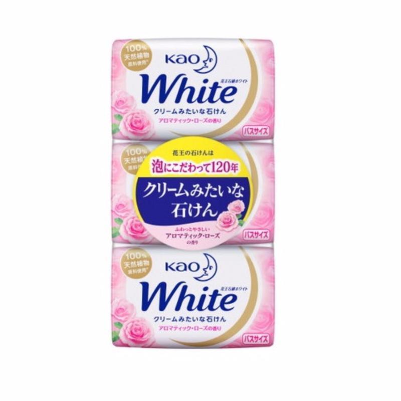 Bộ 3 bánh xà phòng tắm KAO White 130g (Hương hoa hồng) nhập khẩu
