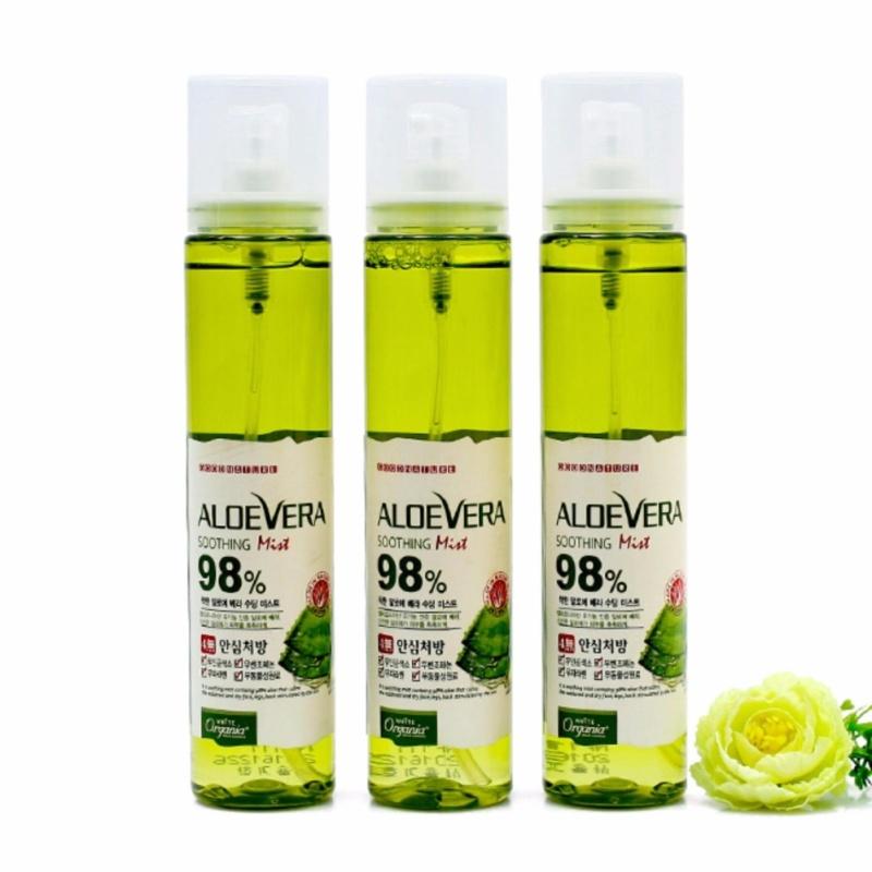 Bộ 3 chai Xịt khoáng dưỡng da ẩm mượt chiết xuất 98% lô hội White Organia Good Nature Aloevera Soothing Mist 98% 118ml x3 cao cấp