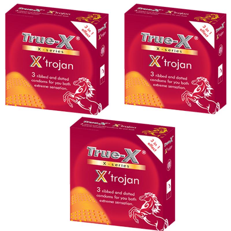 Bộ 3 hộp bao cao su True-X Xtrojan (Đỏ)