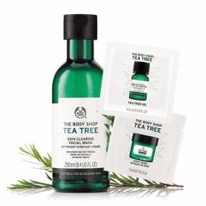 Bán Bộ 3 Sản Phẩm The Body Shop Tea Tree Skin Clearing F*c**l Wash 250Ml Tinh Dầu Trị Mụn Tea Tree Oil 1Ml Sachet Tea Tree Night Mask 5Ml Mới