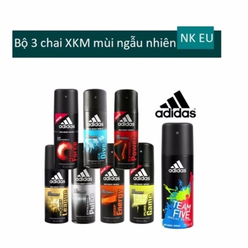 Bộ 3 Xịt khử mùi toàn thân cho nam Adidas - 150 ml x 3 (mùi ngẫu nhiên) tốt nhất