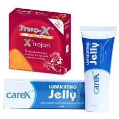 Hình ảnh Bộ bao cao su 3 trong 1 gân gai True-X X'trojan Gel bôi trơn CareX Jelly mịn màng.