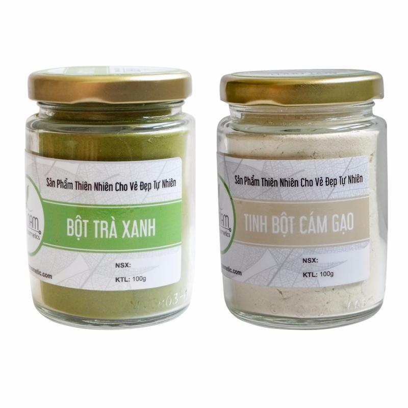 Bộ bột trà xanh 100g và bột cám gạo 100g- Bảo Nam