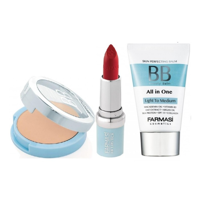 Bộ trang điểm Farmasi : Kem nền trang điểm BB cream 50ml + Phấn phủ chống nắng BB power  + Son lì chống nắng BB matter lipstick 04 nhập khẩu