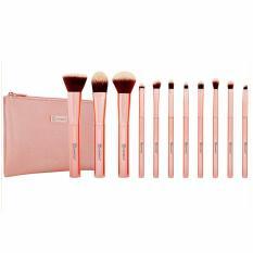 Bộ Cọ Trang Điểm BH COSMETICS 11 Cây Metal Rose 11 Piece Brush Set With Cosmetic Bag