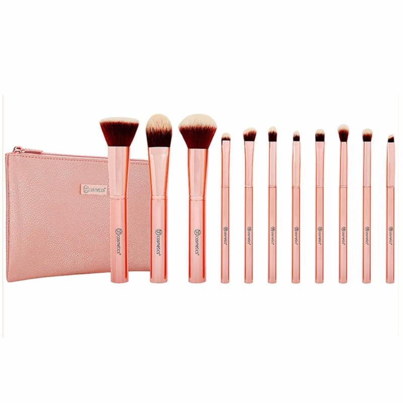 Bộ Cọ Trang Điểm BH COSMETICS 11 Cây Metal Rose 11 Piece Brush Set With Cosmetic Bag