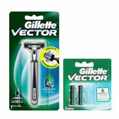 Hình ảnh Bộ dao cạo râu 2 lưỡi kép Gillette Vector và vỉ 2 lưỡi dao kép