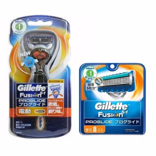 Bộ dao cạo râu chạy pin và vỉ 8 lưỡi dao cạo Râu Gillette Fusion Proglide 5+1. nhập khẩu