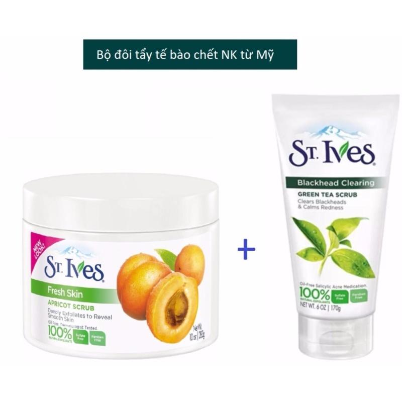 Bộ Đôi tẩy tế bào chết St.Ives Trà Xanh 170g + Fresh skin 283g