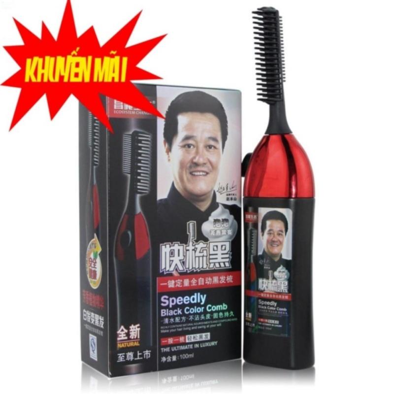 Bộ lược chải nhuộm tóc thông minh 1 nút bấm và thuốc nhuộm(Đen) cao cấp