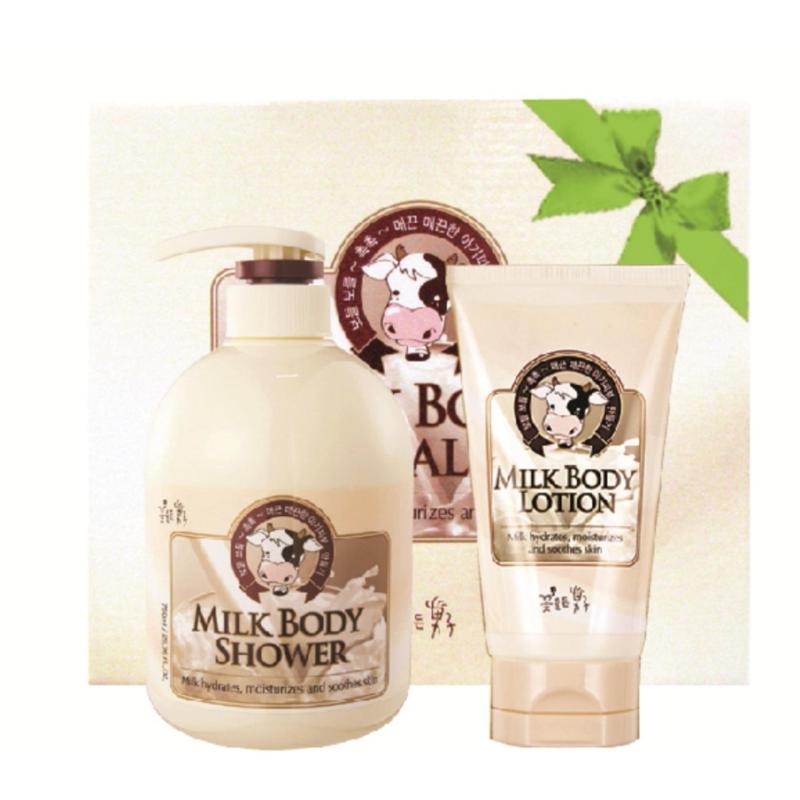Bộ sữa tắm,dưỡng thể chăm sóc da Cosmocos Milk Body Care tinh chất Sữa