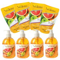 Bộ nước rửa tay diệt khuẩn Tropical Fruits Vedette 4 chai x 500ml và 4 gói x 400ml