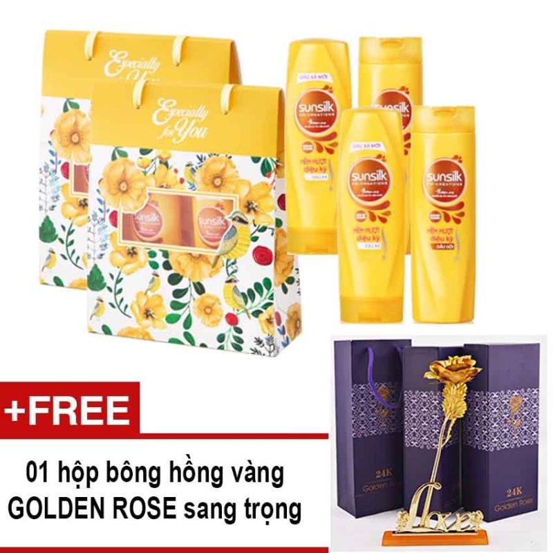 Bộ quà tặng gồm 2 túi quà họa tiết hoa dầu gội và dầu xả Sunsilk mềm mượt diệu kỳ 170g x 2 + Tặng bông hồng Golden Rose
