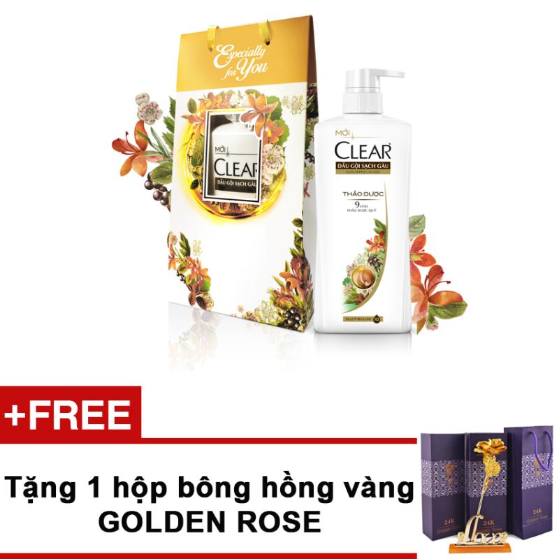 Bộ quà tặng gồm túi quà họa tiết hoa dầu gội Clear thảo dược 650g + Tặng bông hồng Golden Rose nhập khẩu