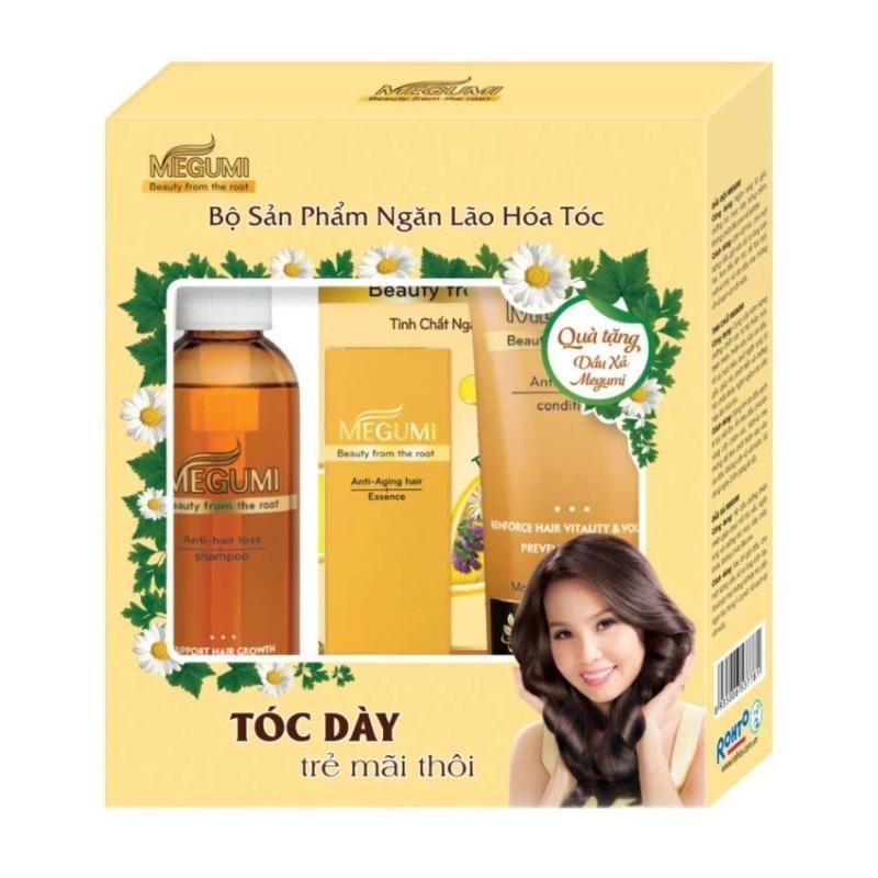 Bộ sản phẩm ngăn lão hóa & giảm rụng tóc Megumi Rohto cao cấp