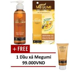 Hình ảnh Bộ sản phẩm ngăn lão hóa tóc Megumi (gồm 01 Tinh chất Megumi 50ml và 01 Dầu gội Megumi 175g) + TẶNG 01 Dầu xả Megumi 130g.