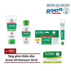 Hình ảnh Bộ sản phẩm trị mụn Rohto Acnes (da thường/khô) + Tặng 1 phim thấm dầu Acnes Oil Remover 50 tờ