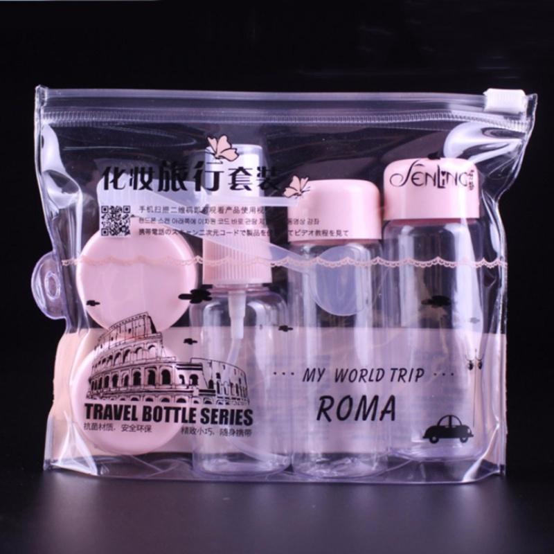 Bộ sang chiết mỹ phẩm du lịch 5 món tiện dụng Roma My World Trip - Hồng nhập khẩu