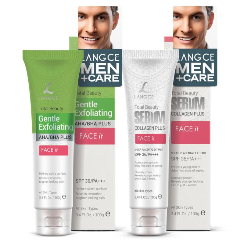 Bộ Tẩy Tế Bào Chết Da Mặt 100ml và Serum Collagen+ Face It Dưỡng Trắng 100ml LANGCE cho Nam giá rẻ
