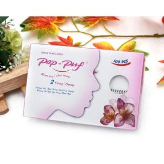 Bông tẩy trang Pop-Puf 2 Công Dụng ( Trang điểm + tẩy trang) 100 Miếng hộp thumbnail