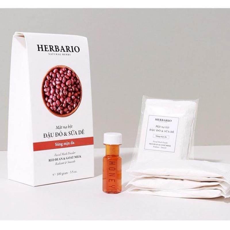 Bột đắp mặt nạ dưỡng da Đậu đỏ và Sữa Dê Herbario 100g nhập khẩu
