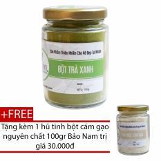 Bột Trà Xanh Nguyên Chất Bảo Lộc Bảo Nam 100g + Tặng Bột Cám Gạo Nguyên Chất 100g