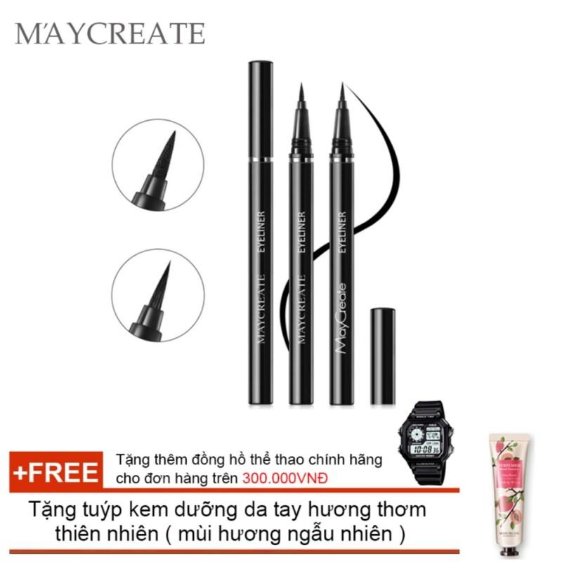 Bút lông kẻ mắt Maycreate ( 0.6ml ) + Tặng tuýp kem dưỡng da tay hương thơm  thiên nhiên ( Đơn hàng mỹ phẩm trên 300k tặng thêm 1 đồng hồ thể thao như quảng cáo ) nhập khẩu