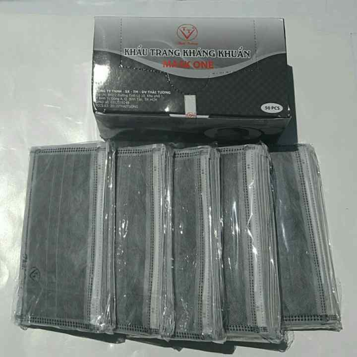Combo 02 hộp khẩu trang 100/chiếc Khẩu trang y tế THÁI TƯỜNG MASK ONE 4 lớp than hoạt tính kháng khuẩn (Màu đen)