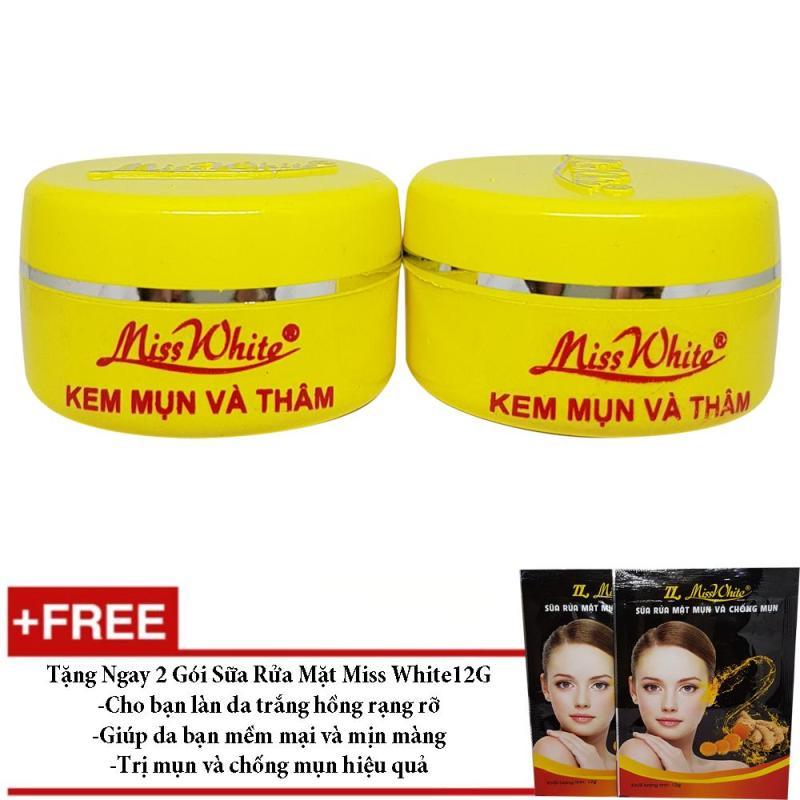 Combo 2 Kem Trị Mụn Và Ngừa Thâm Miss White 12g + Tặng 2 Gói Sữa Rửa Mặt Miss White nhập khẩu